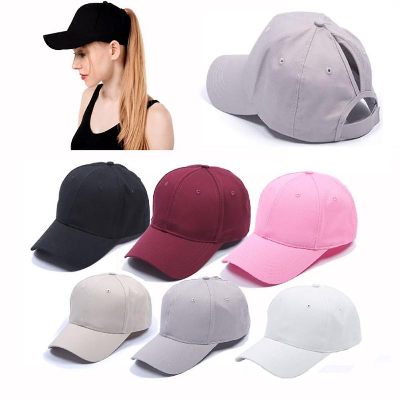 8eb32a27d19 2019 Women S Ponytail Baseball Cap Solid Color Breathable Sunshade Sun Hat  After Opening Sports Tennis Cap From Peniss