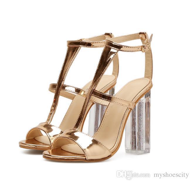 12ae36fbd78 Acheter Femmes Designer Chaussures Or Pvc Transparent Talons Épais Bal De  La Partie De Mariage Sandales De Taille 35 À 40 De  32.4 Du Myshoescity