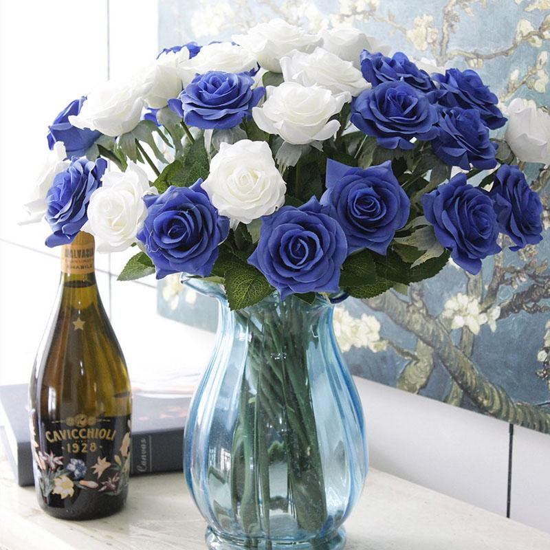 Artificial Flowers Fake Roses Flannel Flower Bridal Bouquet Wedding Party Home Home Festival Decoration DHL