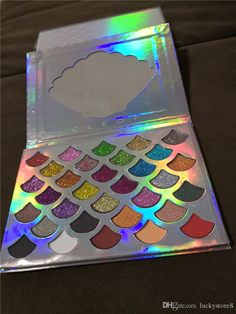 2018 New stock Cleof Palette 32 colors Fashion Women Beauty Cosmetics The Mermaid Glitter Prism Palette Eye Makeup Eyeshadow drop shipping