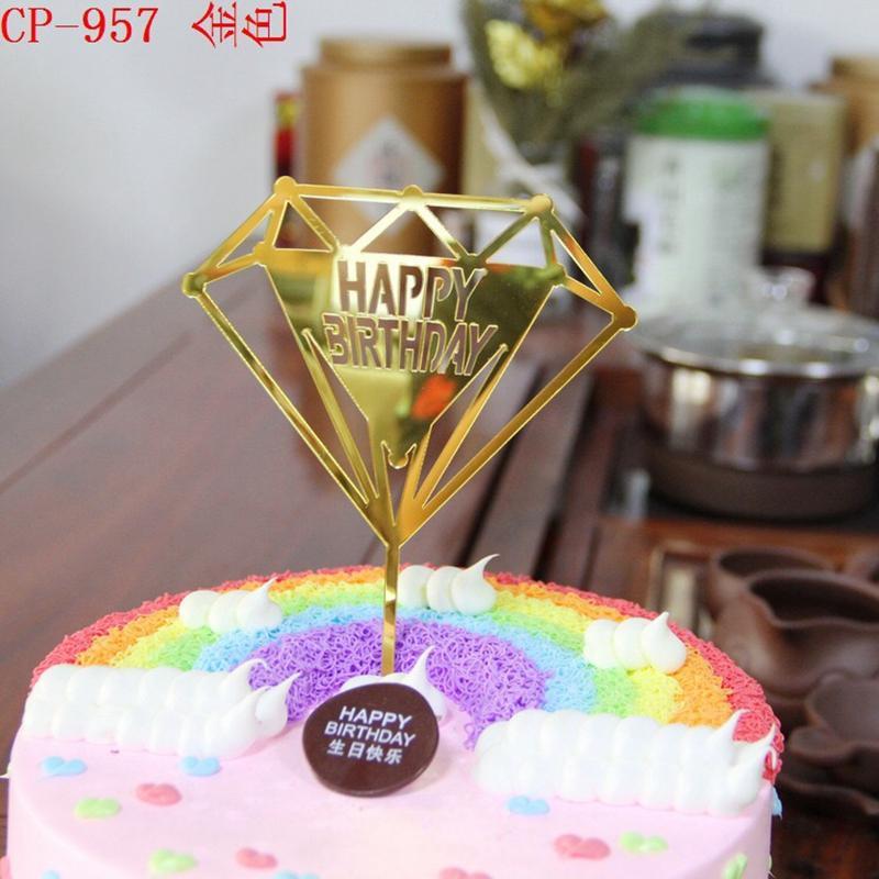 Of Diamond Design Shape Happy Birthday Cake Topper Card Acrylic Cake