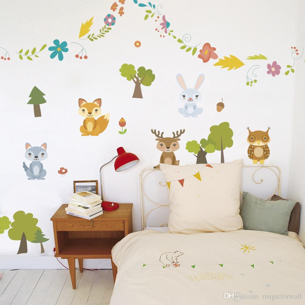 Großhandel Cartoon Tiere Blumen Kranz Bäume Wandtattoos Kinderzimmer  Kindergarten Wandbild Poster Von Magicforwall, $10.04 Auf De.Dhgate.Com |  Dhgate