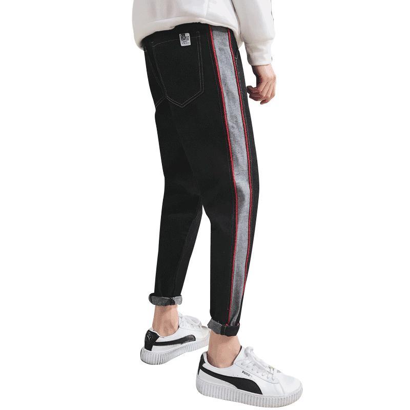 Compre Side Stripes Mens Pantalones Track Big Size Slim Fit Corea Moda Hombres  Pantalones A Rayas Pantalones Bolsillos Jogger Hombre Ropa Para Hombres C A  ... 8f0f0af25e75