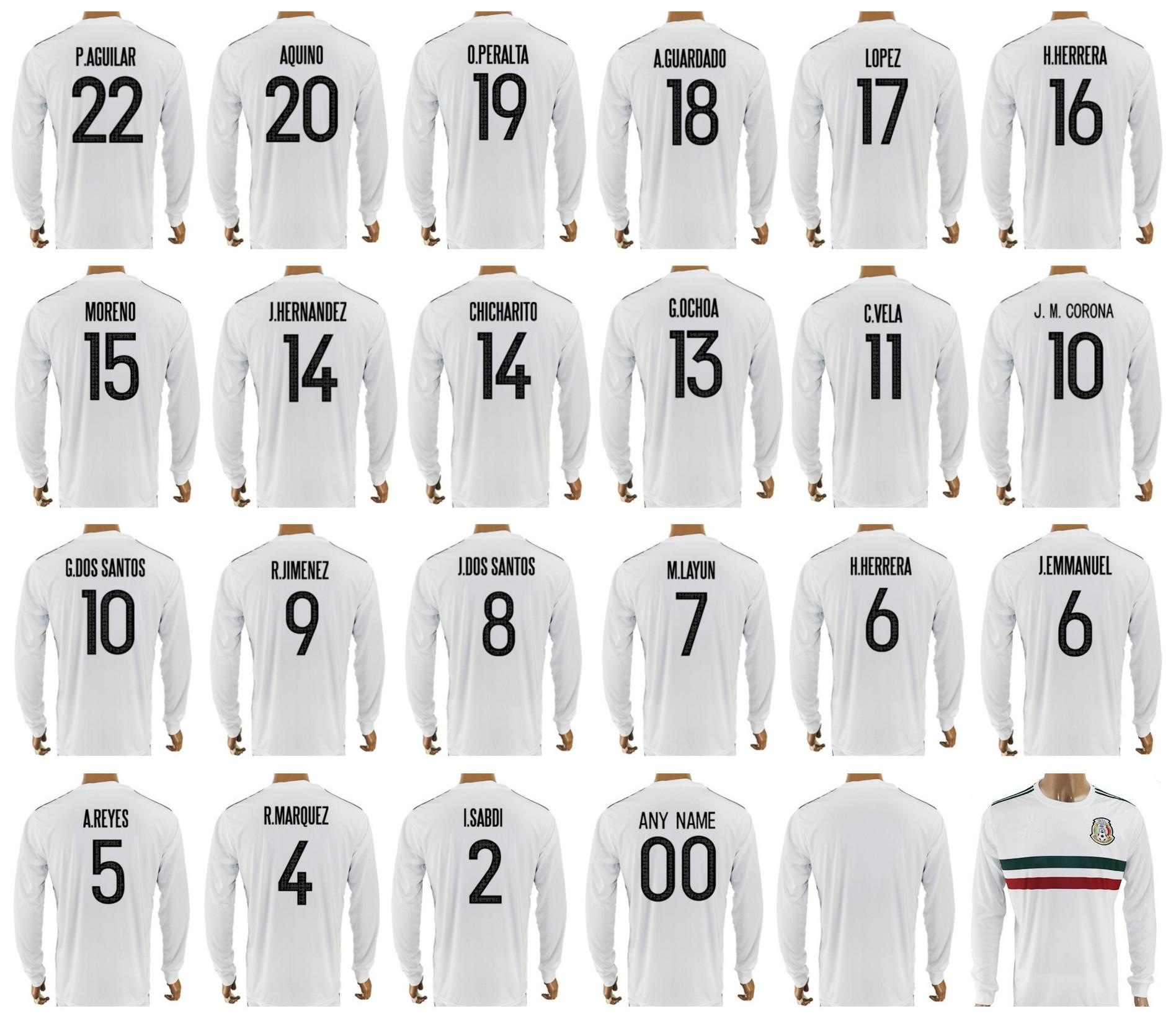 8d25489ca73 ... mexico long sleeve jersey soccer 2017 2018 mexican 10 giovani dos  santos 14 javier hernandez 18