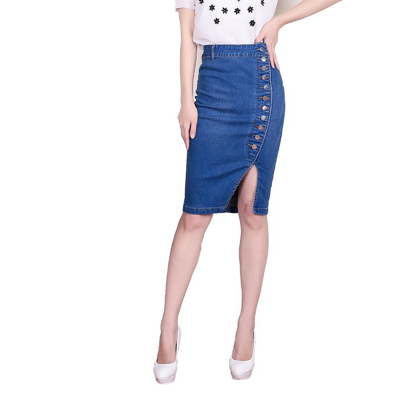 b239845db9d Jeans Skirt High Waist Women Button Pleated Denim Skirts Knee Length ...