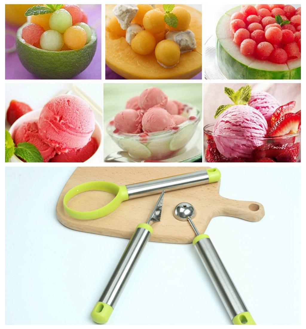2018 vegetable and fruit carving tools stainless steel melon baller