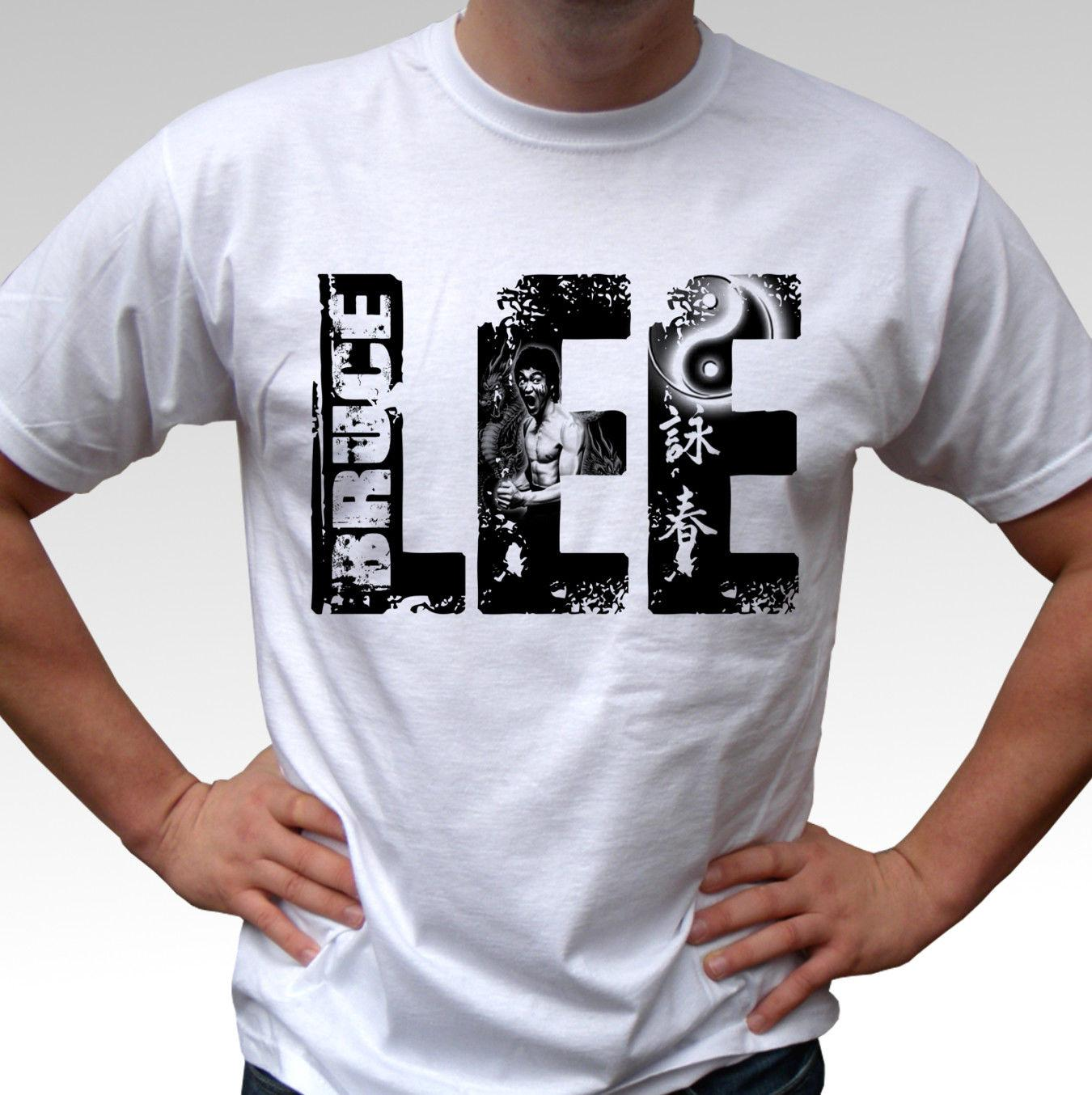 b338b1a5a4e LEE Bruce Lee White T Shirt Top Mens And Kids Sizes Funny Gift Short Short  Sleeve T Shirt Tops Round Neck Tees Cool Tshirts Retro T Shirts From ...