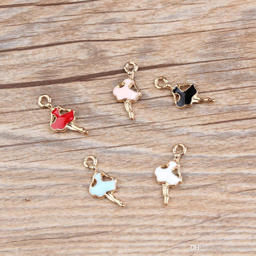 10*22mm Mix Ballerina charms fashion KC gold enamel alloy small bracelet Ballet dancer girl pendant metal dangle diy earrings jewelry making