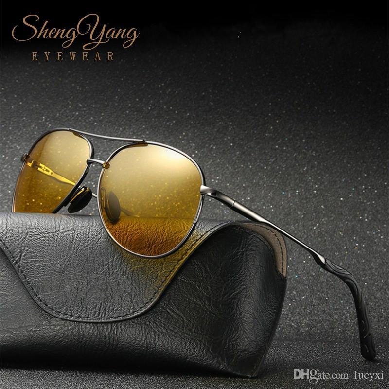 e65236450e4 SHENGYANG Classic Pilot Day Night Vision Sunglasses Men Women HD Polarized  Goggles UV400 Driver Night Driving Sun Glasses Eyewear Oculos Day Night  Vision ...