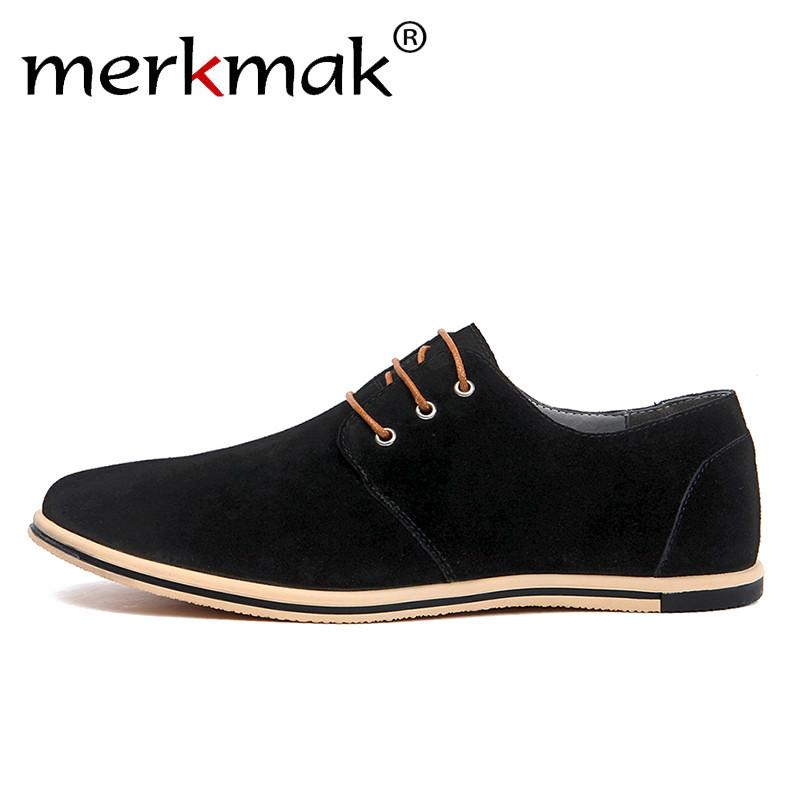 ecb993a42c38 Merkmak Large Size 38~50 Genuine Leather Shoes Brand Men Casual Shoes  Luxury Elegant Mens Dress Business Office Patchwork Oxfords Cheap Oxfords  Merkmak ...