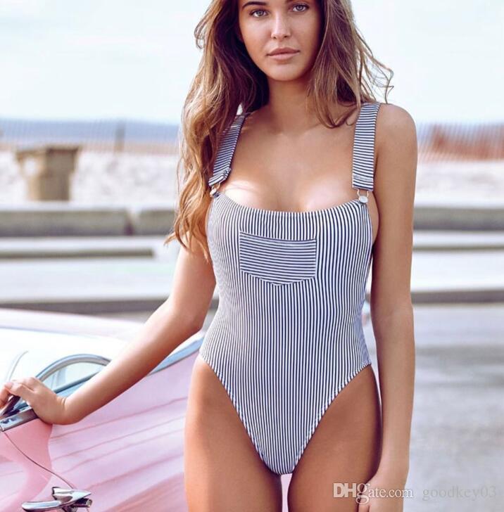 4ee837f3cd588 Women Swimsuit 2018 Basic Bodysuit Sexy Striped Rompers Women ...