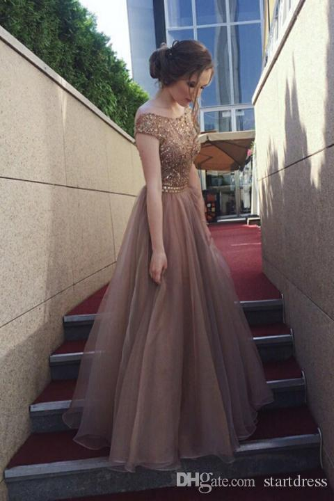 2018 Sexy Open Back Prom Dress A line Top Beaded Organza Floor Length Evening Gowns Long Sexy Plus Size Special Occasion Formal Girls