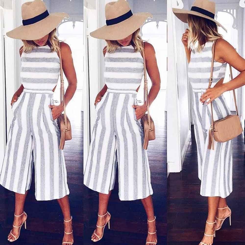 Acheter 2018 Mode Femmes Sans Manches Rayé Combinaison Dames Casual Lâche  Pantalon Léotard Catsuit Combinaison Large Jambe Pantalon Salopette De   36.75 Du ... d0059aeee00