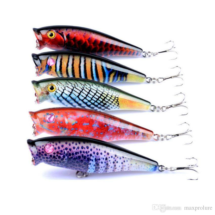 5 Pcs/lot Fishing Lures Floating water popper poper hard bait 7.5cm 7.8g Freshwater Fishing crankbaits Top Water plastic Pesca lure 6# Hooks