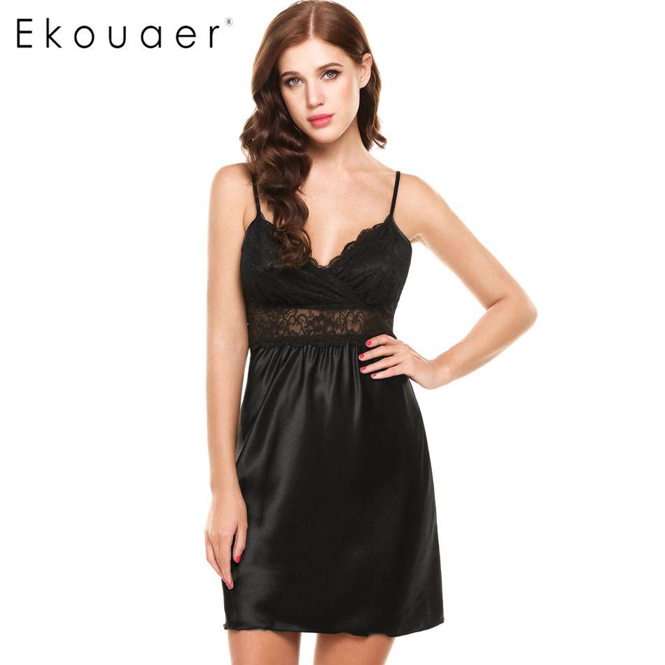 718e5ccbea 2018 Ekouaer Ladies Sexy Silk Satin Night Dress Nightwear Sleeveless V Neck  Nightgown Plus Size Nightdress Lace Sleepwear For Women From Vanilla15