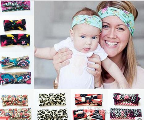Mother Daughter Headbands Family Hair Bands Baby Girls Hair Bows Bandanas  Newborn Floral Printing Barrettes Bowknot Hair Accessories Heagbnds Online  with ... 613313ef6ae