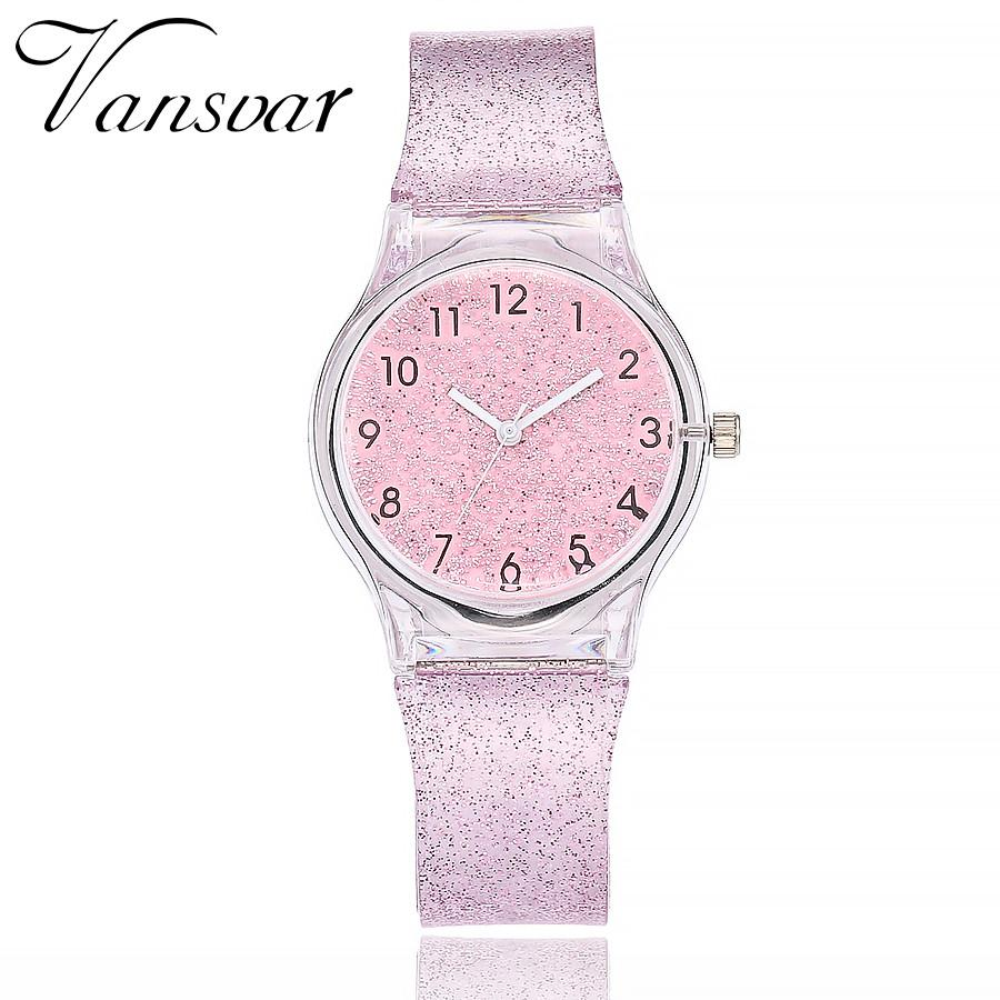 Vansvar Fashion Jelly Silicone Transparent Plastic Quartz Watch Women Lovely Cute Unique Dress Rose Watch Gift