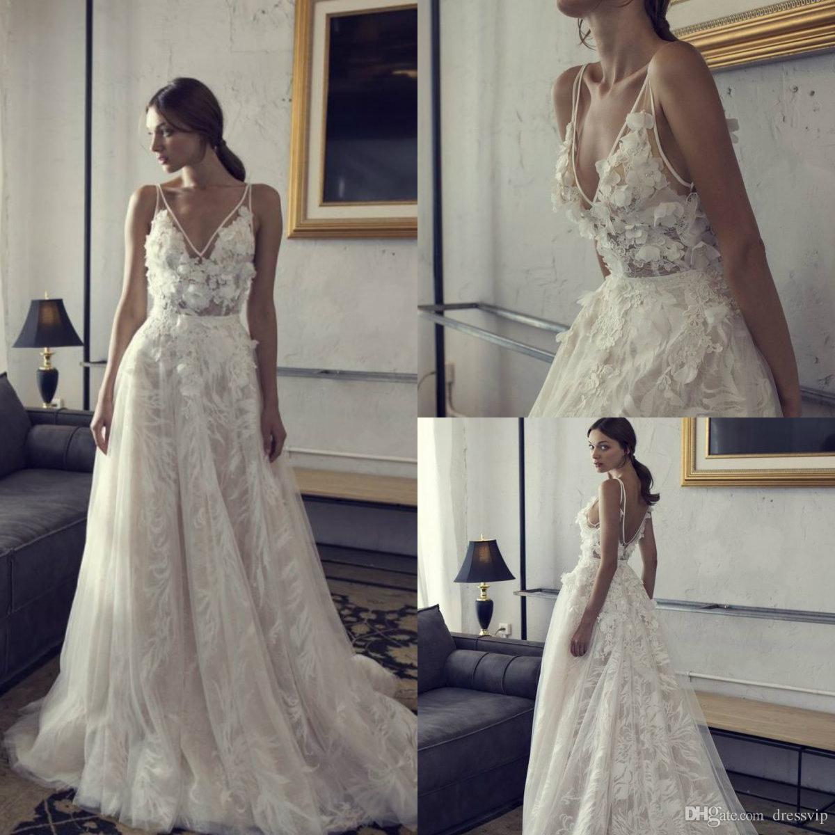 Boho Blush Pink Wedding Dresses 2017 Pretty 3d Flower Lace: Großhandel 2018 V Ausschnitt Boho Brautkleider Backless A