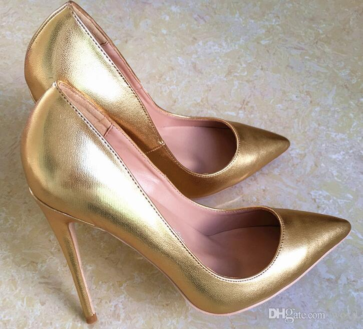 c6e0542e23b Brand Golden Women High Heel Shoes Pointed Toes Wedding Pumps Nude Patent  Leather Fashion Lady Shoes 8cm 10cm 12cm 34 44 Mens Chelsea Boots Pink Shoes  From ...