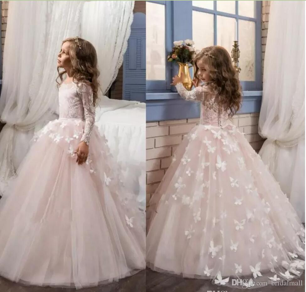 62d928d96c8ca 2018 Blush Lace Long Sleeves Ball Gown Flower Girls Dresses Full Butterfly  Kids Pageant Gowns Little Girl Birthday Party Communion Dresses