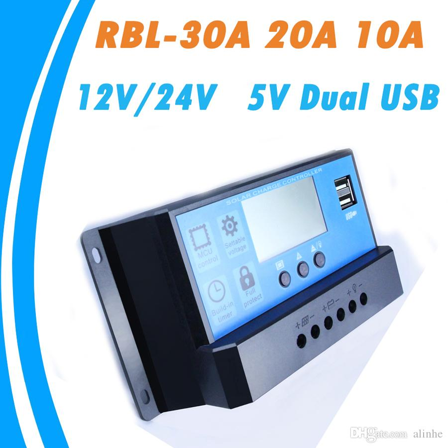 30a / 20a / 10a 12 فولت 24 فولت السيارات العمل pwm الشمسية المسؤول عن المراقب المالي مع lcd المزدوج usb 5 فولت الناتج لوحة الخلايا الشمسية شاحن منظم pv الرئيسية