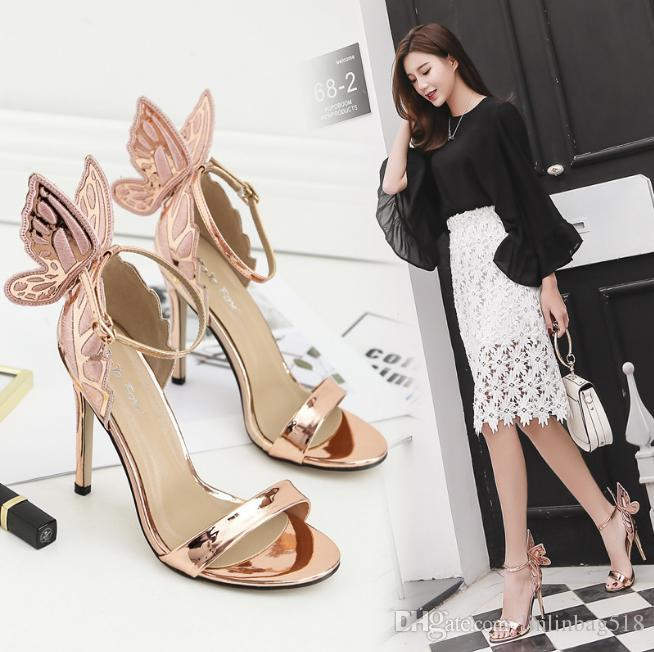 Magic butterfly wing high heels a word crossed bandage fashion celebrities bridesmaid shoes Fashion ladies' wedding shoes.