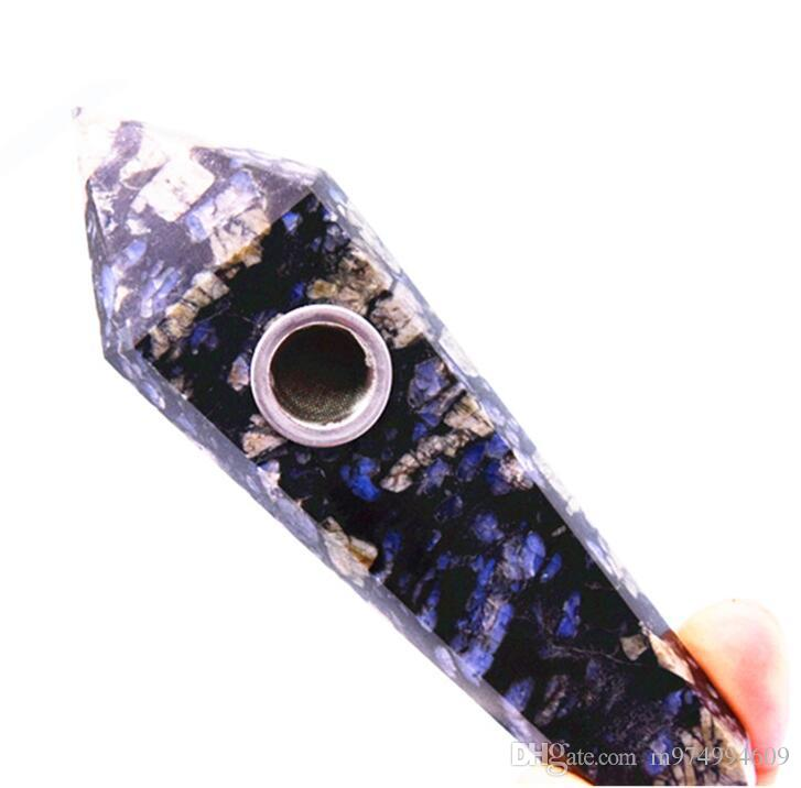 Best sale Natural Quartz blue black Snowflakes obsidian crystal smoking pipe healing point wand tobacco cigarette