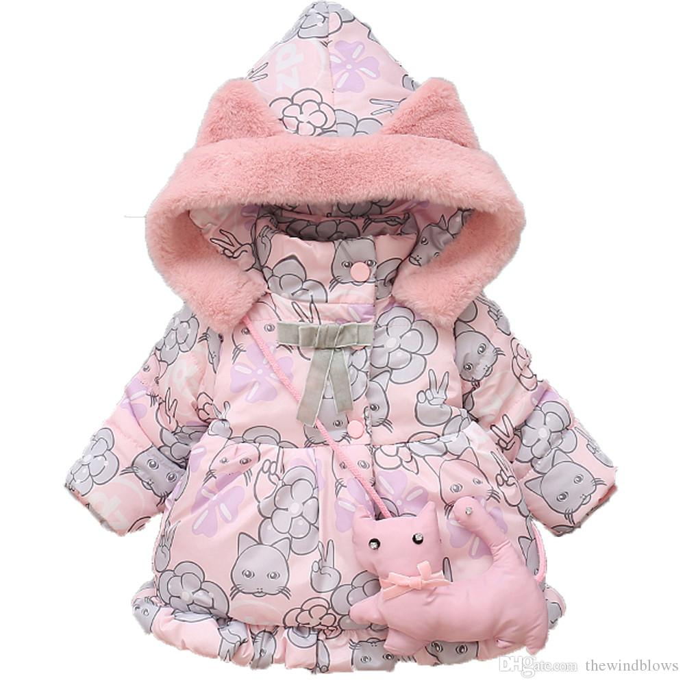 eede2f736 New Cute Baby Girl Clothes Winter Cotton Cat Hooded Coat Thick Warm ...