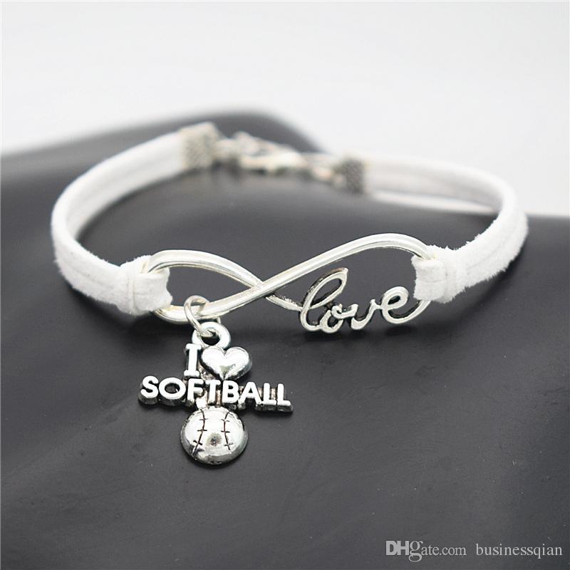 2018 new Punk Sport Antique Silver I Love Softball Pendant Charm Leather Bracelets for Women Men Softball Team Gift Infinity Love Jewelry