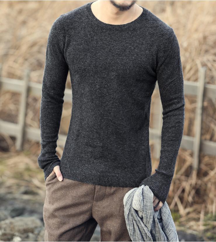 أرنب الكشمير سترة الرجال 2016 ماركة الملابس الرجال البلوزات أزياء عارضة قميص الصوف البلوز الرجال سحب س الرقبة اللباس