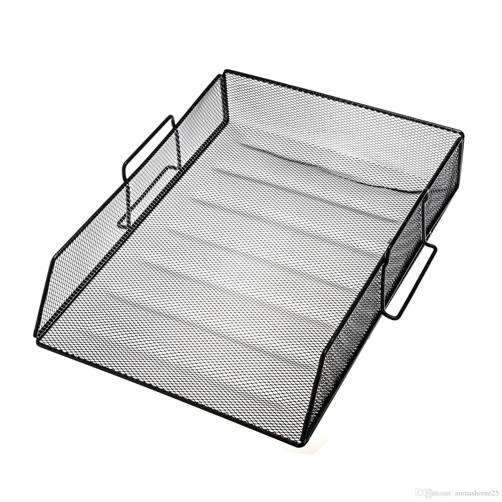 2018 Black One Compartment Metal Mesh Desktop File Sorter Desk Tray Organizer From Anmashome25 22 11 Dhgate Com