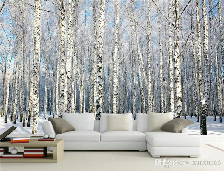 Custom Any Size Photo Background Wallpaper Winter Snow Birch Forest Art Wall Covering BedRoom Murals Modern WallPaper Home Decor