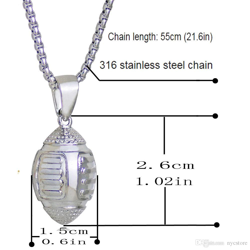 Gold Football Rugby Pendant Necklace Sports Bodybuilding Fitness Stainless Steel Chain Men Statement Necklace