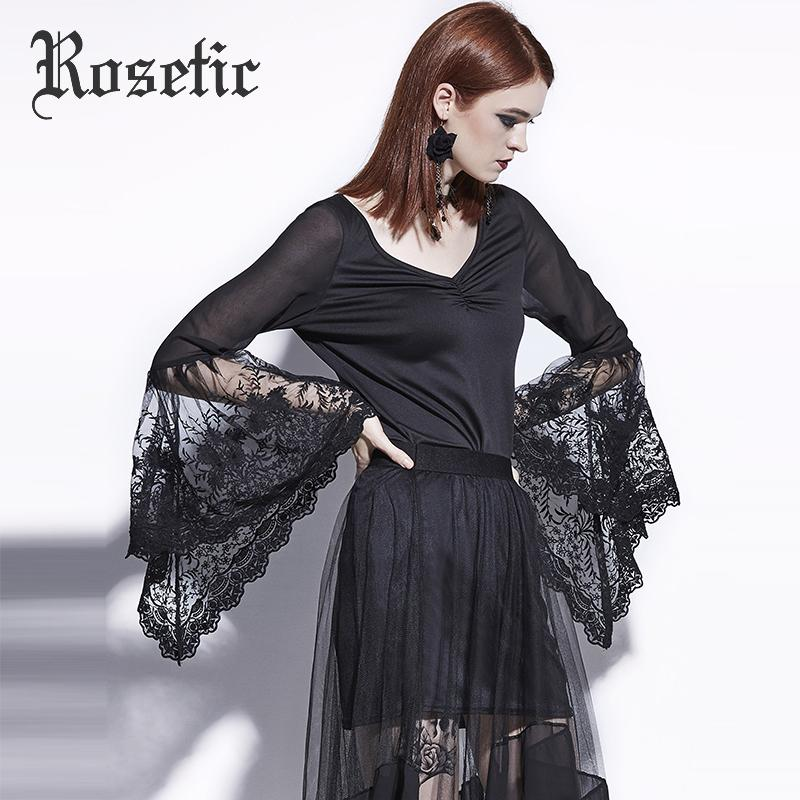 Chemisier gothique gothique noir dentelle noire manches évasées Slim femmes automne casual chemises mode goth sexy jeune fille hauts blouses gothiques