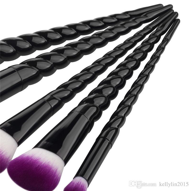 Unicorn Screw Makeup Brushes Set Black White Gold Cosmetic Tools Face Powder Eyeshadow Foundation Brush Make up Brushes Kit