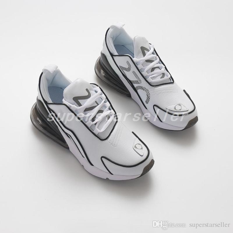 1ae9c1ea8c8b2e 2018 New 270 Premium White Maxes Black Leather Mens Running Shoes ...