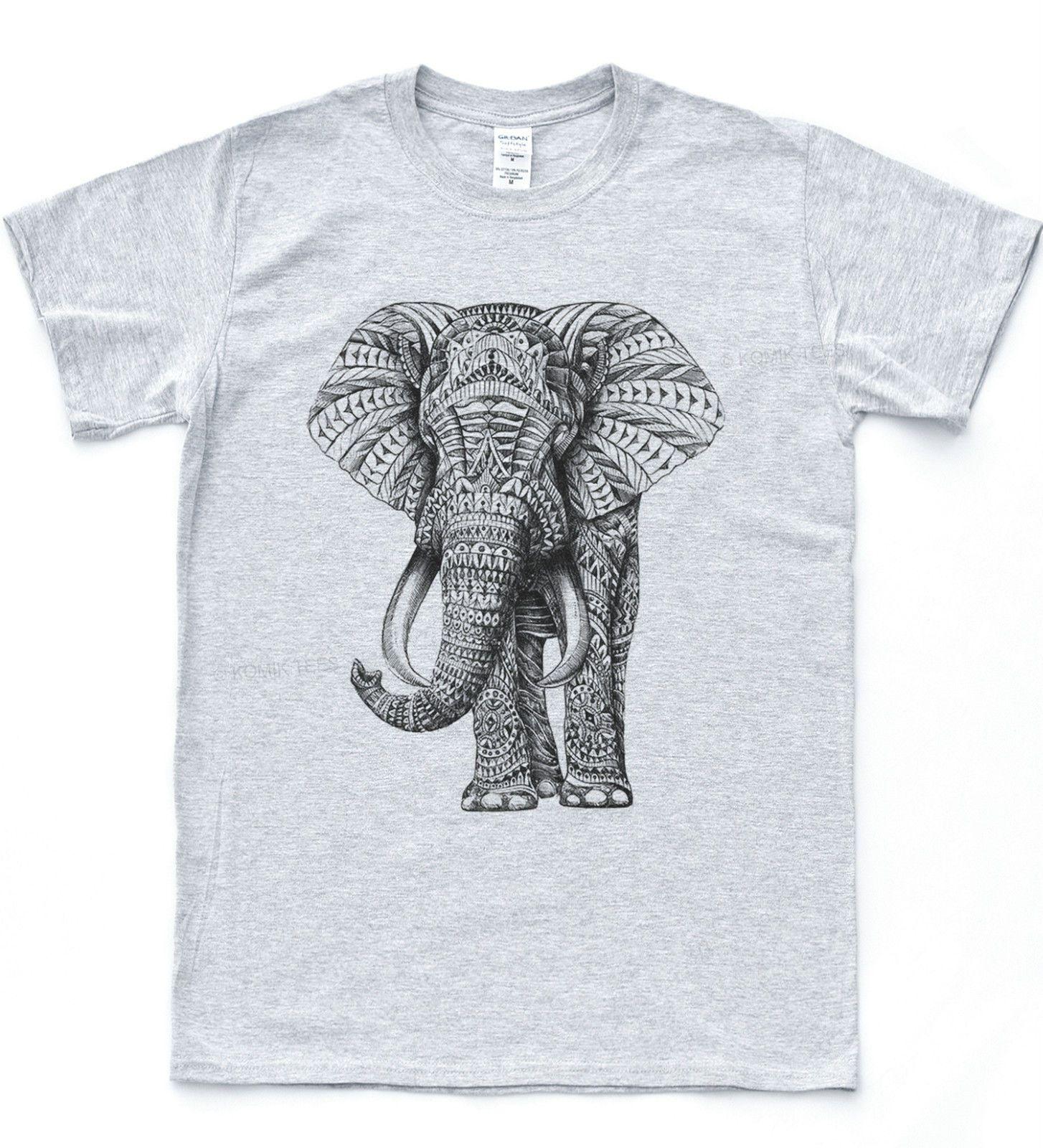 7ffe3576c1ca27 Navajo Elephant Print T Shirt Tumblr Aztec Hipster Tee Retro Pattern ...