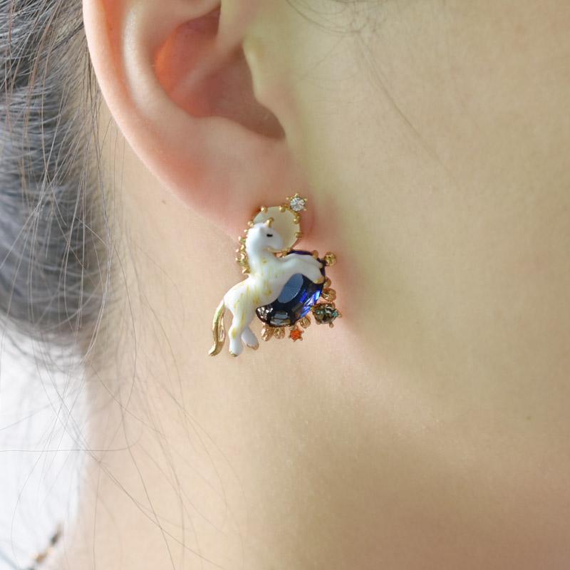 France Dyxytwe Enamel Glaze Unicorn White Horse Jewelry Sets Necklace Ring Women Earring Stud