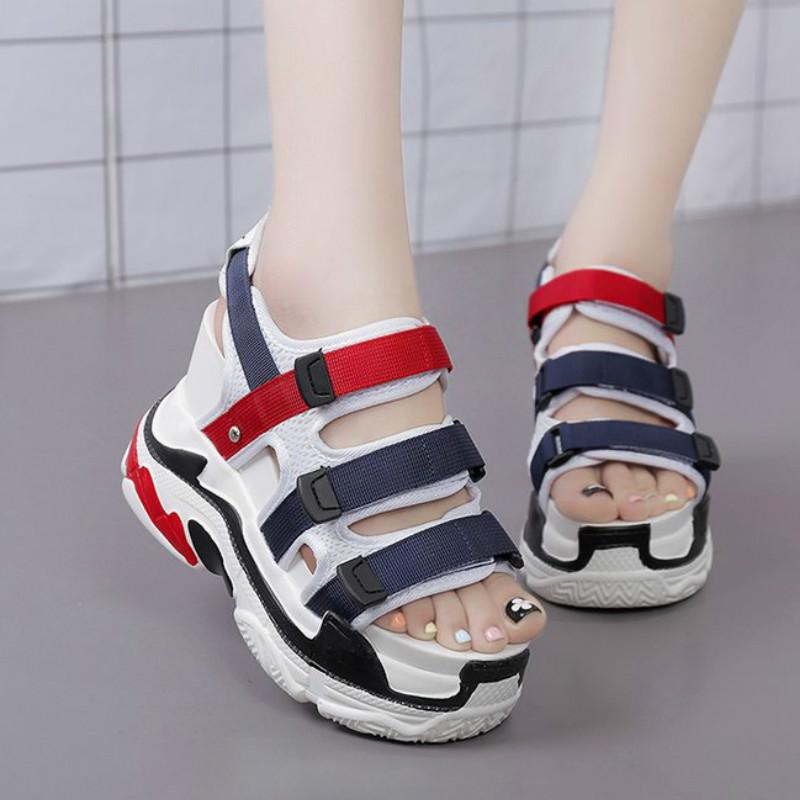 247bf30063f0 Summer Women High Heel Platform Sandals Wedge Height Increasing Peep Toe High  Heels Hooks   Loops Lace Up Casual Ladies Shoes 11cm Heels Sandals For Girls  ...