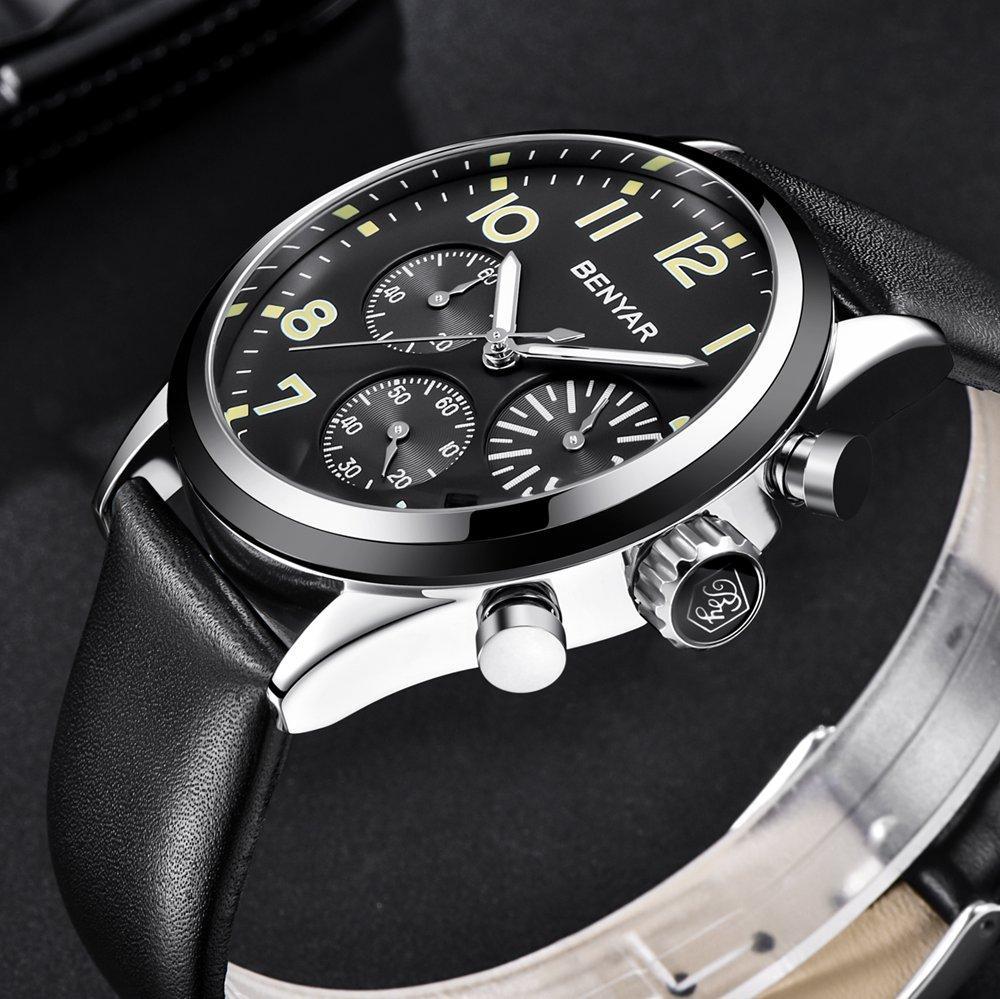 492d5d3b8ddc4 Acheter Benyar Quartz Sport Montre Homme Chronographe Étanche Montre Homme  Noir Cuir Horloge Poignet Homme Hodinky Relojes Hombre De $44.06 Du Byuild  ...