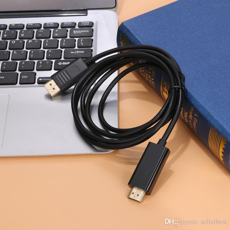 1.8m HDMI Cable DisplayPort Male to HDMI Male 1080P Video Converter Adapter Cable for HDTV Monitor Projector Support 1080P