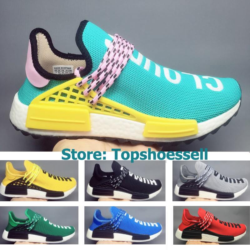 1dac6163fb084 2018 NMD Human Race TR Men Running Shoes Pharrell Williams Nmds Human Races  Pharell Williams Mens Womens Trainers Sports Sneakers Box 36 45 Mens Trail  ...