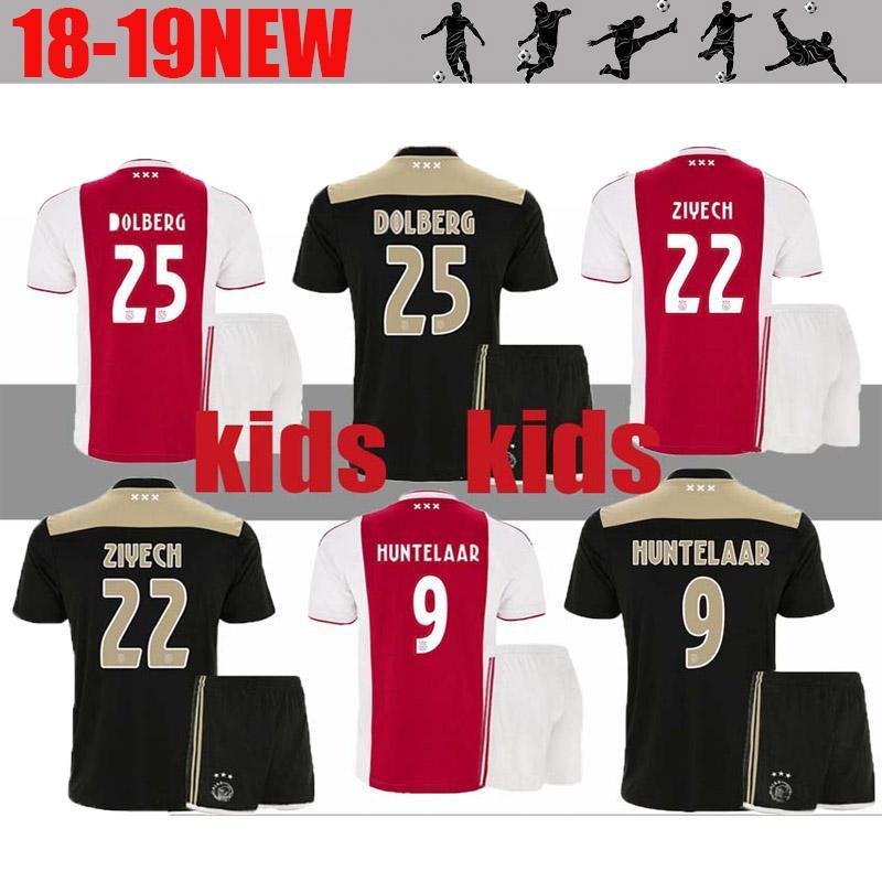 6e77715b Ajax 2018 2019 FC Home away Soccer Jerseys kids kits + socks 18/19 Camisa  ZIYECH KLUIVERT NOURI DOLBERG YOUNES Jerseys Football Shirts sets