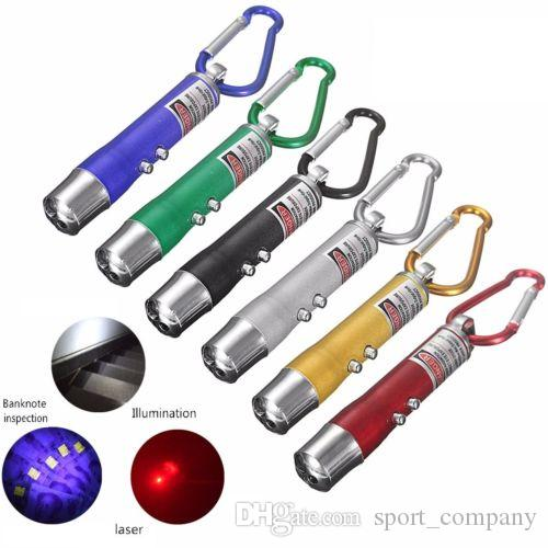 3 in1 LED UV Light Flashlight Aluminum Alloy Red Laser Pointer Mini Torch with KeyRing Pen Chain Free DHL