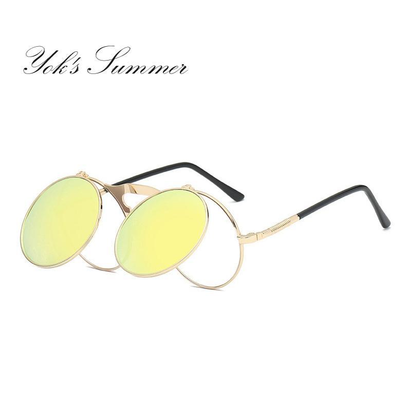 eaaaf6724c Yok s Summer Flip Polarized Sunglasses Men Steampunk Metal Frame ...