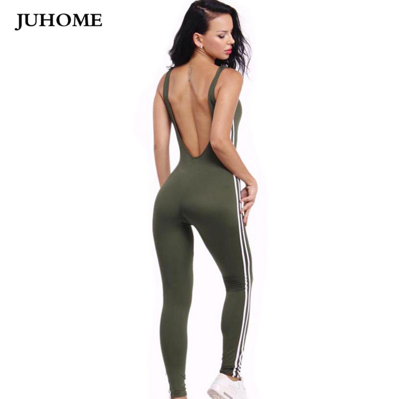 One Piece Elegant Summer Female fitness jumpsuits 2017 backless tracksuit sexy women rompers body suit playsuit overalls macacao