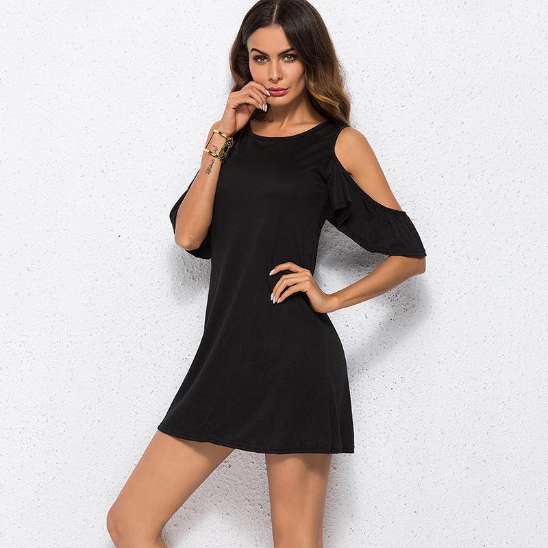 3548002eebe2c Plus Size Black Women Dress ColD Shoulder Loose Slim Mini Elegant Summer  2019 Butterfly Sleeve Women Dress Vestidos 4XL Women In Dress Sun Dresses  For Sale ...