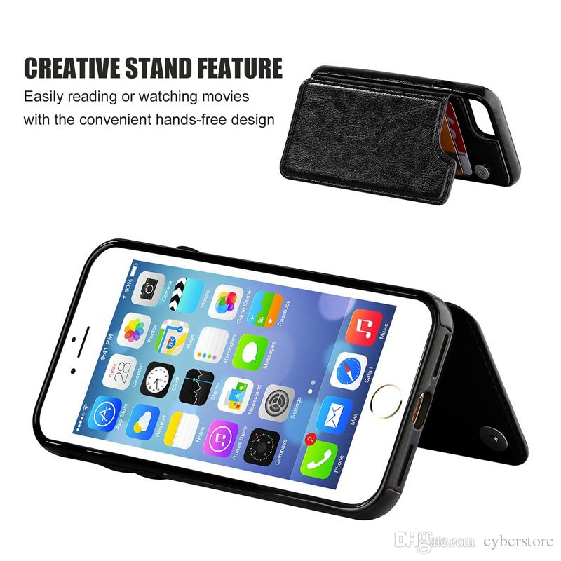 For iPhone XS MAX XR X 8 7 Wallet Leather Phone Case Card Slots Slim Multi-functional Folio Stand Shockproof For Samsung S10 Plus