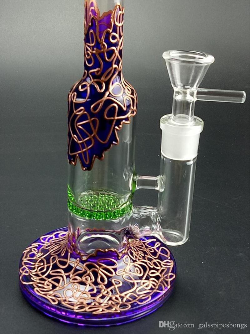 Purple Bongs Heady Glass Dab Rig Stright Tube Glass Water Bongs Honeycomb Percolator oil rig beaker bong with 14.5mm joint