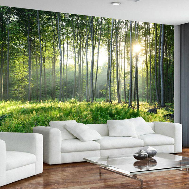 gro handel benutzerdefinierte fototapete 3d green forest natur landschaft gro e wandbilder. Black Bedroom Furniture Sets. Home Design Ideas